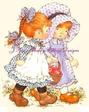 Precious Little Girls Her Best Friends 5x7 Inches Sarah Kay Fabric Block