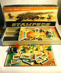 Vintage 1956 Stampede Board Game Cowboys Western Cattle - Playing Pieces Shoot!