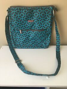 Teal and Gray Baggallini Crossbody Bag with Pink Lining