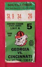 Vintage Oct. 30, 1976 Georgia vs Cincinnati Ticket Stub UGA BULLDOGS