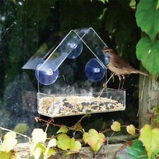 1Pcs Clear Glass Window Viewing Bird Feeder Hotel Table Seed Hanging Suction