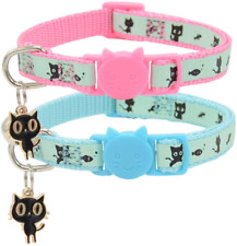 Barleygoo 2 Pack Glow In The Dark Cat Collar With Bell Breakaway Safety Cat New