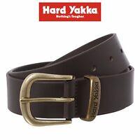 Mens Hard Yakka Belt Colorado Oil Tan Leather Work Brass Buckle Chocolate Y09402