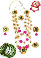Fashion Floret Jewelry Traditional Pink Flower Gota Patti Set For Women Girls