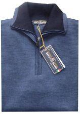 MAGLIA UOMO lana rasata M L XL XXL XXXL maglione collo zip avio VELE dei MARI
