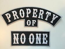 Property of No One Motorcycle Jacket Rockers Patches NEW Set of 2