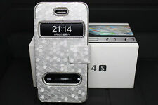 Full Luxury Leather look Case Cover for Apple iPhone 4 4G 4S Silver NEW