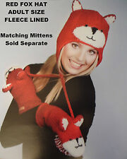 deLux tag ADULT FOX HAT knit animal mens womens winter Costume cap FL LINED red