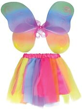 Girls Bright Rainbow Tutu Fairy Wings Dance Fancy Dress Costume Outfit Accessory