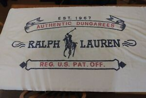 Vintage 90s RALPH LAUREN Authentic Dungarees Beach Towel Pony Logo