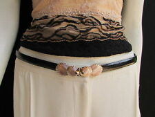"Women High Waist Hip Black Thin 80s Fashion Belt Gold Seashells 22""-40"" Xs S M L"