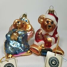 Boyds Bears Christmas Glass Ornaments  97 98 numbered limited edition lot of 2