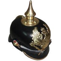 Casque Officier Impérial Allemand à Pointes en Pickelhaube-Cuir Noir a819