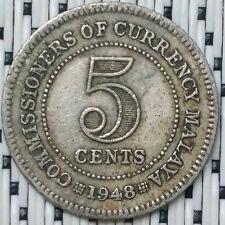 *GOOD Grade* 1948 - Malaya - 5 Cents George VI #CBRQ