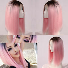 Women Long Straight Black&Pink Wigs Heat Resistant Lace Front Ombre Hair Wig