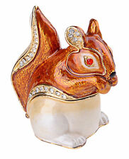 Squirrel Enamelled Trinket Box Jewelry INCL Necklace & Pendant NIB