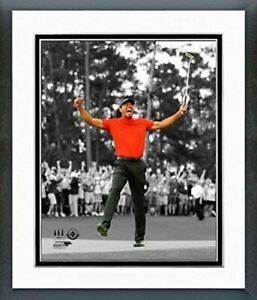 """Tiger Woods 2019 Masters Tournament Spotlight Photo (Size: 12.5"""" x 15.5"""") Framed"""