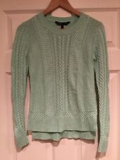 BCBG Max Azria Mint Green Wool Cable Knit Crewneck Sweater, Size XS