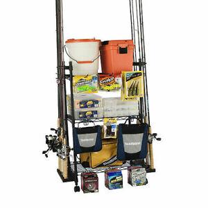 12 Fishing Rod Pole Tackle Storage Organizer Rack w/Adjustable Shelves & Hooks