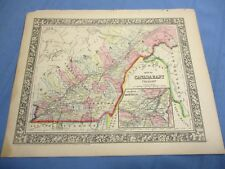 1865 Colored Map - CANADA EAST - Province of Quebec, inset map of Montreal