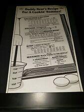 Queen/Bob Seger/Beach Boys Rare Original Radio Promo Poster Ad Framed!