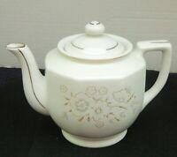 032#J&C--Teapot White Glaze Floral Design Marked Japan Pottery