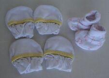 Set of 2 Newborn Soft cotton No Scratch Mittens and one pair of newborn booties