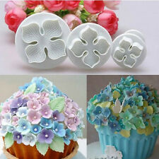3X Hydrangea Fondant Cake Decorating SugarCraft Plunger Cutter Flower Mold Set