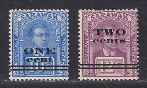 Sarawak SG 74c/7 Scott 77b/78a LH 1923 Surcharged Issue Close Bars SCV $272.50