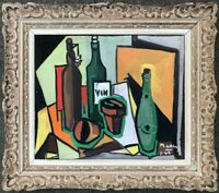MICHEL DE ALVIS (né en 1933) PEINTURE POST-CUBISTE NATURE MORTE 1956 (17)