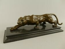 Bronze Figur Bronzeskulptur Statue Tier Zoo laufender Puma Silberlöwe Raubkatze