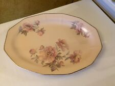 "ATLAS GLOBE CHINA CO. A-G.C.CO. BROADWAY ROSE PINK ROSE FLOWERS 11"" OVAL PLATTER"