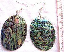 EARRINGS Artisan Large Blue Green Pink Paua Abalone Large Oval 925 Silver Hooks