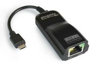 Plugable USB 2.0 OTG Micro-B to 100Mbps Fast Ethernet Adapter (ASIX AX88772A)