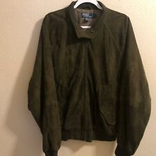 Polo Ralph Lauren Suede Leather Bomber Jacket Button Collar Green Men Large [39]