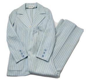 VTG 60s Mod Womens 4 Mod Blue White Plaid Pant Suit 2 Piece High Rise Wide Leg