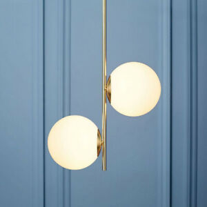Modern Gold Metal Linear with 2 White Glass Balls Minimal Ceiling Pendant Lights