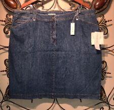 Jones New York Womens Plus Sz 22 Denim Blue Jean Straight Skirt Stretch NEW $74