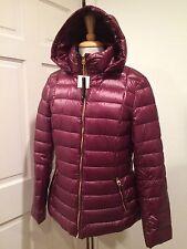 Calvin Klein Jacket Coat Puffer Packable Down Lightweight Zip Hood Wine M $225