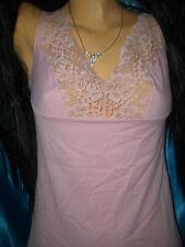 Sinnliches Vintage Graziella Dederon Spitzen Unterkleid 42 rosa Negligee  (B56)