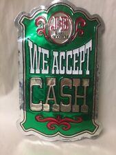 "VINTAGE J&B SCOTCH WHISKEY ADVERTISING BAR SIGN RETRO FOIL ""WE ACCEPT CASH"""