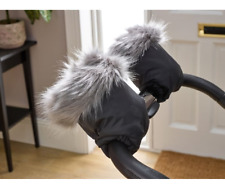 New Clair de lune universal pushchair & pram faux fur mittens in grey