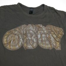 OBEY SHEPARD FAIREY ART METALLIC GLITTER TEE T SHIRT Sz Mens L Retro 70s style