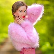 SUPERTANYA Hand Knit Mohair Cropped Sweater SEXY BOLERO PINK Top Fashion Outfit
