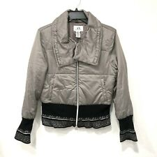 A/X Armani Exchange Puffer Jacket Quilted Coat Cropped Parka Size Medium Grey