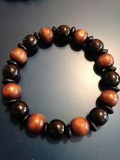 Mens Wood Bracelet, Black & Brown Bracelet, Wooden Beads