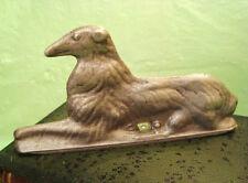 """Vintage CAST ALUMINUM BORSOI DOG GATE TOPPER - NOW A WOOD """"BOOK"""" BOX TOPPER Xlnt"""