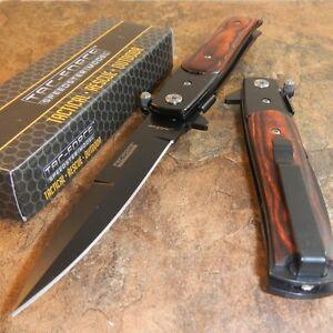TAC-FORCE Godfather Wood Spring Assist Open Folding Blade Pocket Knife