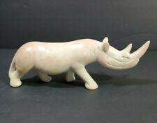 Vtg Art Carve Rock Stone Rhinoceros Figurine Sculpture Wild Animal Paperweight