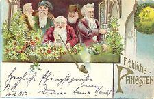 Pfingsten, Zwerge am Fenster, Prägekarte, 1905